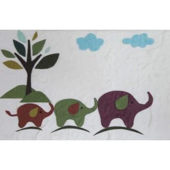 Three Elephants (White)
