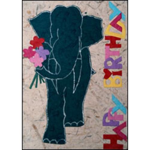 Handmade Card: 'Happy Birthday' Elephant